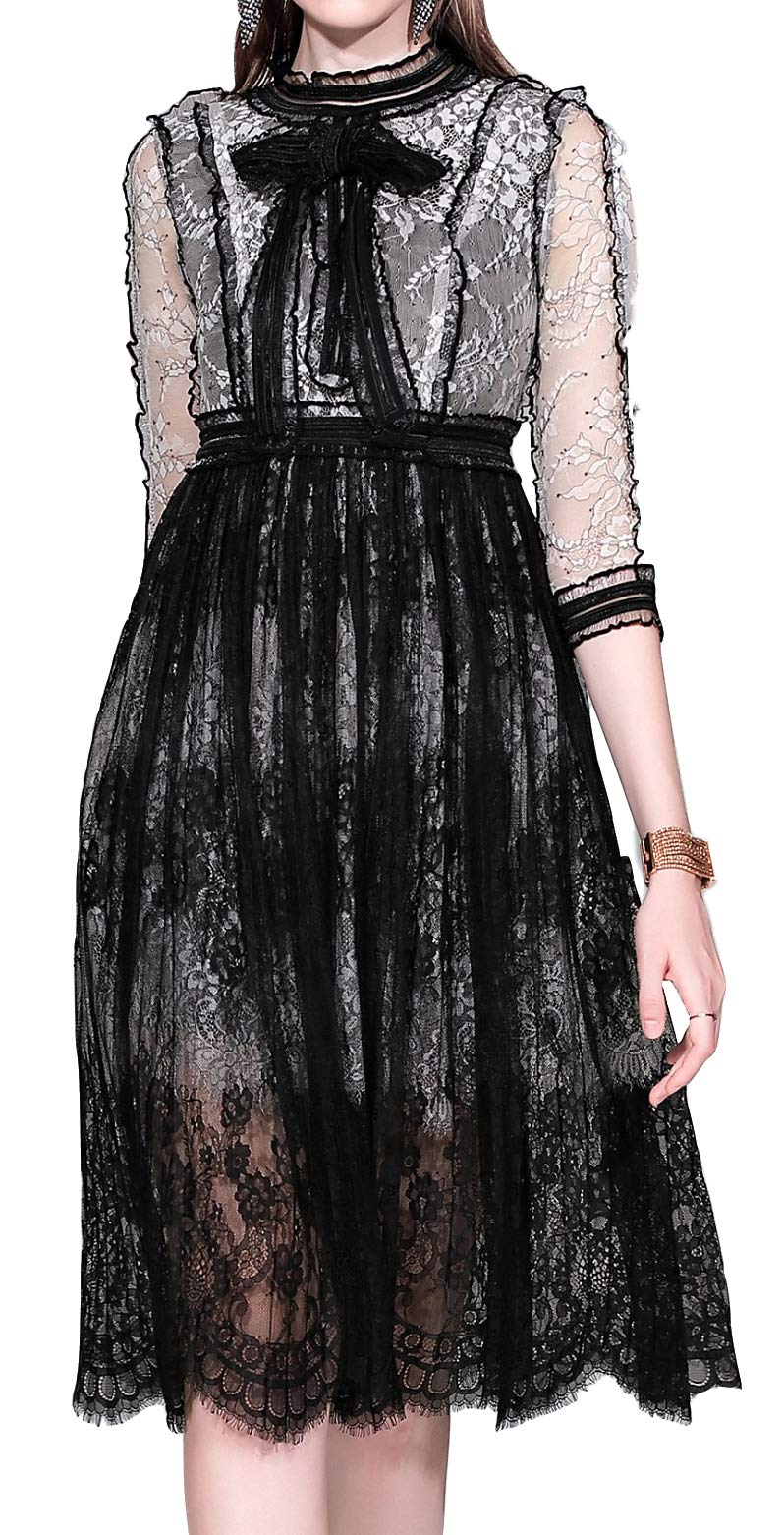 Women's 3/4 Sleeve Lace Elegant Cocktail Dress Crew Neck Knee Length for Party