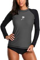 Sociala Women's Long Sleeve Rashguard UPF 50+ Rash Guard Swim Shirt Swimsuit Top