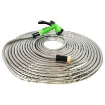 "MTB 304 Stainless Steel Garden Hose 50-ft with Spray Nozzle and 3/4"" Solid Aluminum Connectors, Metal Water Hose…"