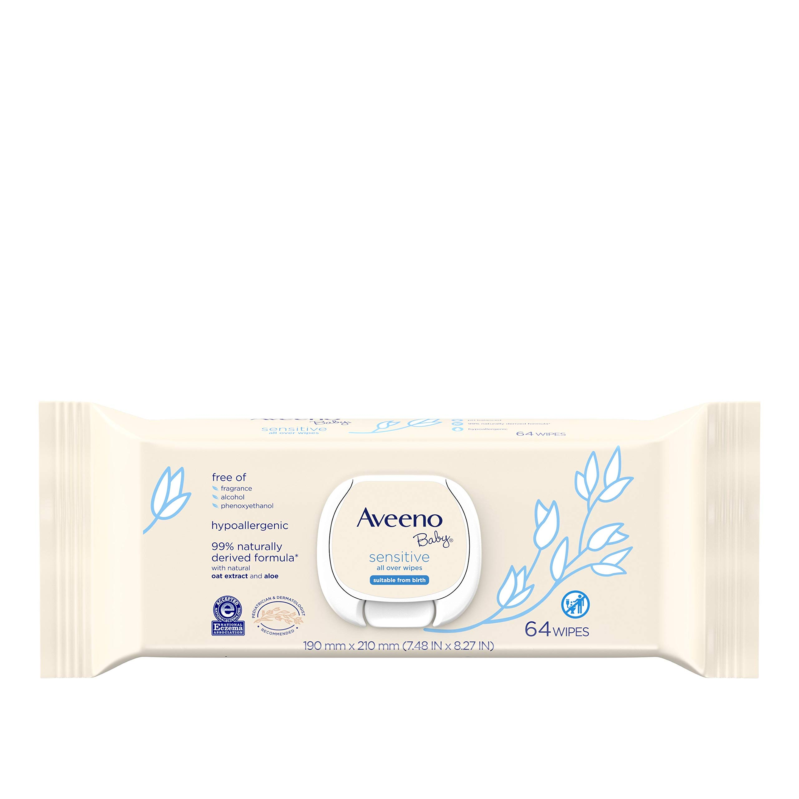 Aveeno Baby Sensitive All Over Wipes with Aloe & Natural Oat Extract for Face, Bottom & Hands, pH-Balanced, Hypoallergenic, Fragrance-, Phthalate-, Alcohol- & Paraben-Free Formula, 64 ct (Pack of 3)