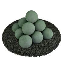 Ceramic Fire Balls | Set of 14 | Modern Accessory for Indoor and Outdoor Fire Pits or Fireplaces – Brushed Concrete Look | Slate Green, 4 Inch