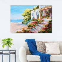 "wall26 Canvas Wall Art of Entryway to Italian Villa Oil Painting | 12"" x 18"""