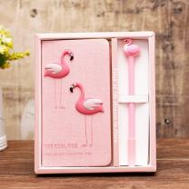DPIST Trendy Flamingo Notebook Pen Set -Lovely Flamingo Gifts for Girls