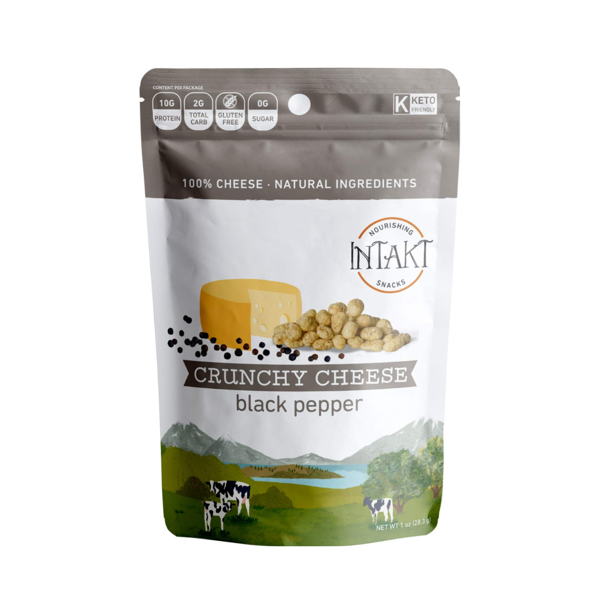 INTAKT Crunchy Cheese Crisps Keto Snacks | 4 Pack | Black Pepper | 100% Natural Cheese, High Protein Bites, Low Carb Snack Bites, Gluten Free Snack Packs, Grain Free, Soy & Nut Free, Non GMO