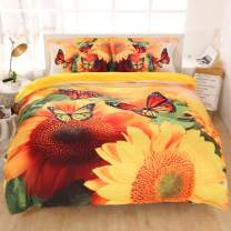 Imiee Beautiful Sunflower and Butterfly Duvet Cover Bedding Sets 3 Pieces Full Size for Teen Kids, Tencel Cotton Butterfly Comforter Cover Sheet Sets with Pillowcases(Full)