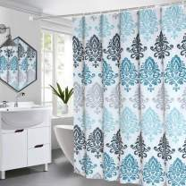 Seavish Fabric Shower Curtain, 60 x 72 Light Blue Damask Motif Boho Cloth Shower Curtains for Bathroom Ethnic Tribal Design, Heavy Weighted and Waterproof