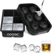 Ice Cube Trays Large, Silicone Ice Cube Tray Big Ice Cubes for Whiskey Ice Tray Ice Ball Maker Sphere Ice Mold- Large Round Spheres Reusable Mold and BPA Free