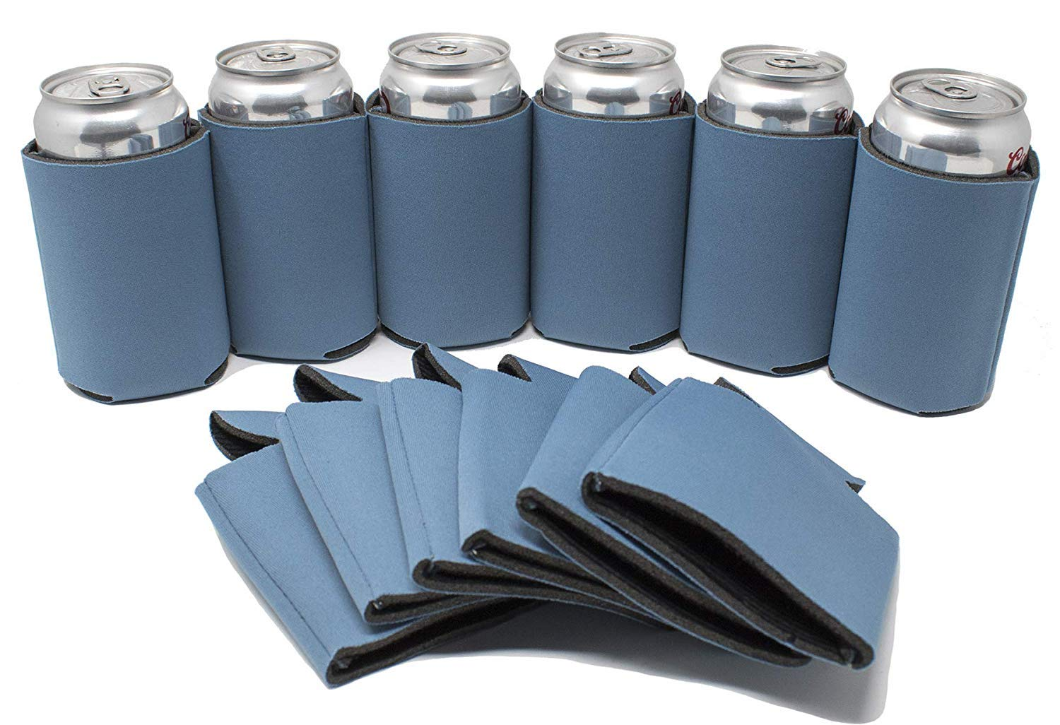 TahoeBay 12 Blank Beer Can Coolers, Plain Bulk Collapsible Soda Cover Coolies, DIY Personalized Sublimation Sleeves for Weddings, Bachelorette Parties, Funny HTV Party Favors (Steel Blue, 12)
