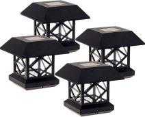GreenLighting Summit Solar Post Cap Light for 4x4 Wood Posts 4 Pack (Black)