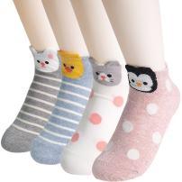 OKIE OKIE Best Selling Womens Socks Gift - Animal Cat Dog Art Animation Character | Christmas Gifts for Socks Women (Animal - Dot Stripe 4pcs)