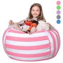 "WEKAPO Stuffed Animal Storage Bean Bag Chair Cover for Kids   Stuffable Zipper Beanbag for Organizing Children Plush Toys   38"" Extra Large Premium Cotton Canvas …"