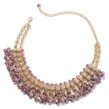 Glass Goldtone Bib Choker Statement Necklace for Women Jewelry (Blue/Purple/Champagne/Peacock)