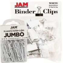 JAM PAPER Office Desk Supplies Bundle - White - Jumbo Paper Clips & Medium Binder Clips - 1 Pack of Each (2 Packs Total)