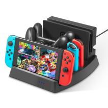 Nintendo Switch Charger Stand – Younik Vertical Stand Charging Dock Station with LED Indication & Type C Cable for Nintendo Switch Console, Joy-Con Controller & Switch Pro Controller
