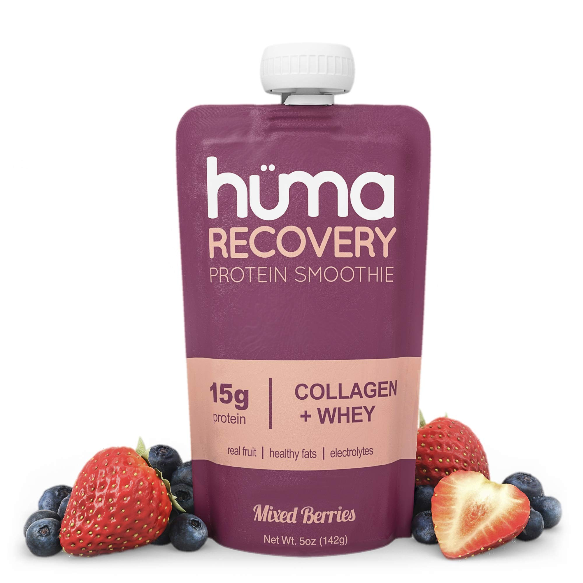 Huma Recovery Protein Smoothie, 20 Pouches – 15g Collagen + Whey Post Workout Recovery Drink – Ready-to-Drink Protein Shake with Real Fruit, Electrolytes, Healthy Fats