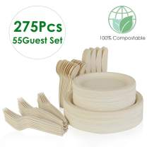 Prasacco 275Pcs Disposable Cutlery Set, Compostable Sugar Cane Cutlery Environmental Cutlery, Microwave Grill, Frozen Eco-friendly Plate, Fork, Knife And Spoon Combination, For Party, Camping, Picnic,