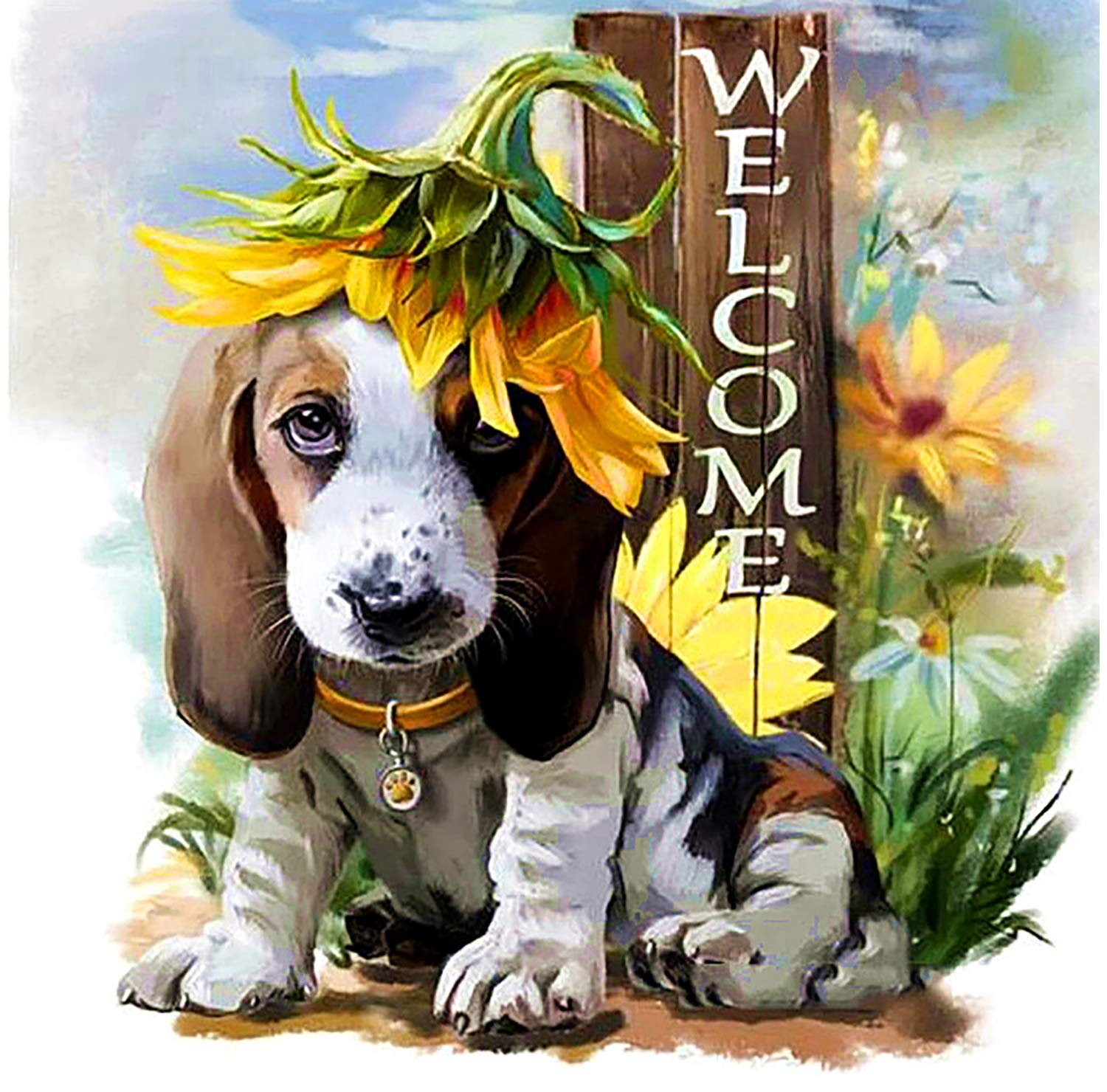 Huacan 5D Stitch Diamond Painting Dog Kit for Beginners Kids Adults Full Drill Crystal Art DIY Welcome Wall Hanging Gift Puppy and Sunflower 30x30cm