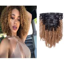 Loxxy Kinky Curly Clip in Human Hair Extensions 3C 4A Remy Hair Extension Clip on 100% Real Two Tone Ombre Natural Black Fading into Blonde Strawberry Color For Black Women KC 1B/27 12 Inch 120G