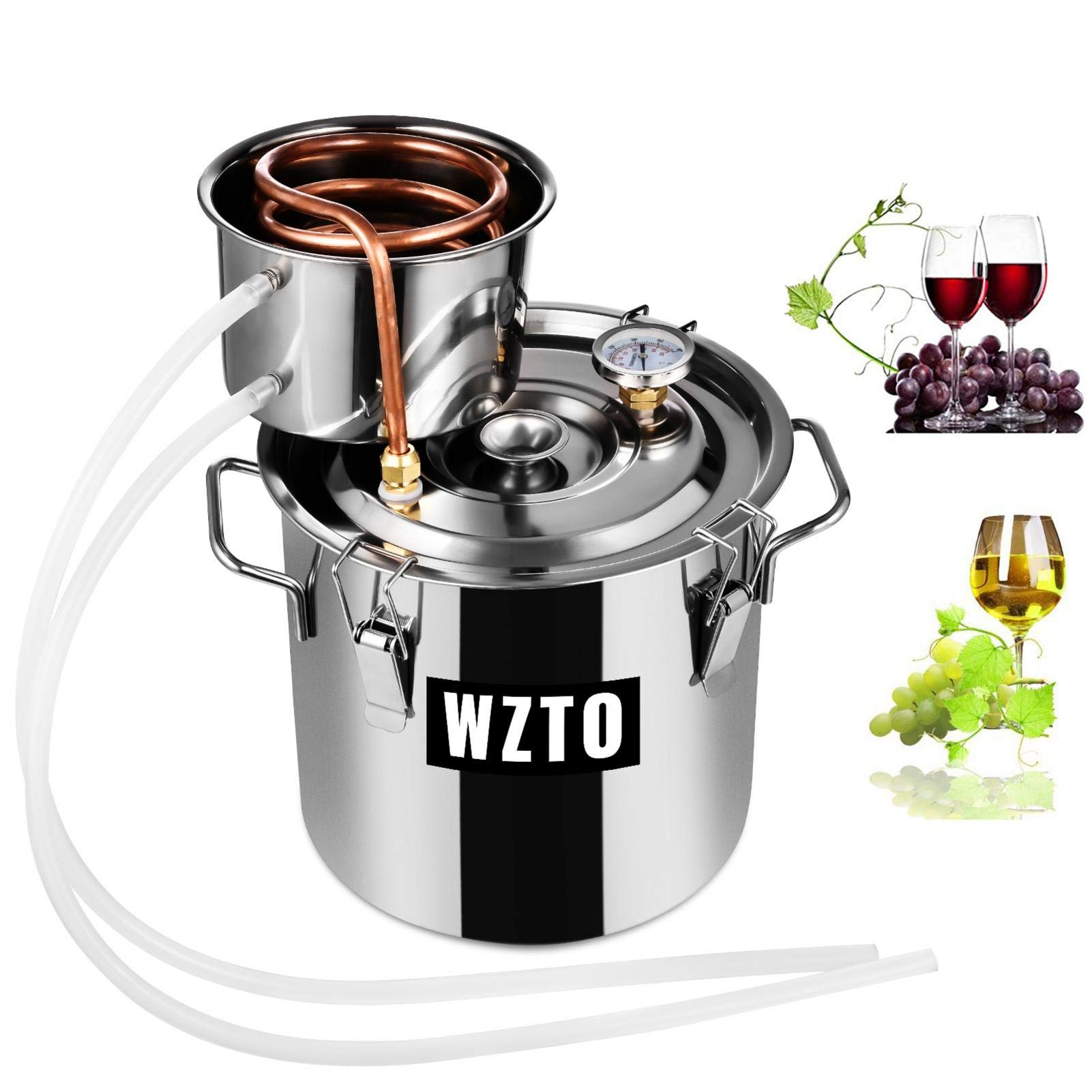 3GAL Moonshine Still Stainless Steel,Purifying Water Alcohol Distiller,Home Brew Wine Making Kits with Thumper,Home Brewing Kit Copper Tube for DIY Brandy Whisky Wine Essential Oils Hydrosols