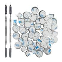 70Pcs Metal Stickers for magnetic palette, DanziX Palette Empty Eyeshadow Makeup Palette + 2 Depotting Spatula (35Pcs Round + 35Pcs Square)
