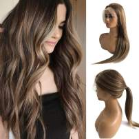 "Balayage Human Hair Lace Front Wig Highlighted Color Medium Brown with Blonde Highlights Brazilian Remy Straight 22"" 150% Density Free Part Glueless Lace Wig Full Head for White Women"