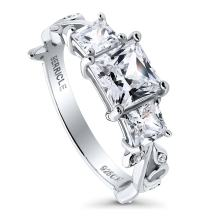 BERRICLE Rhodium Plated Sterling Silver Princess Cut Cubic Zirconia CZ 3-Stone Leaf Filigree Promise Engagement Ring 2 CTW