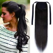 Tie Up Ponytail Extension Human Hair Pony Tails Hair Extensions Binding Ponytail Hair Extensions with Combs 100% Real Remy Hair Long Straight with Ribbon For Women #02 Dark Brown 20 Inch 95g