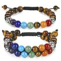 Jovivi 2pcs 8mm Beads Chakra Bracelet - Natural Tiger Eye Gemstone Healing Stones Crystal Bracelet Yoga Reki Energy Beads Long Distance Couples Bracelets Set for Men Women