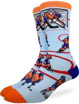 Good Luck Sock Men's Hockey, Orange & Blue Socks - Blue, Adult Shoe Size 7-12