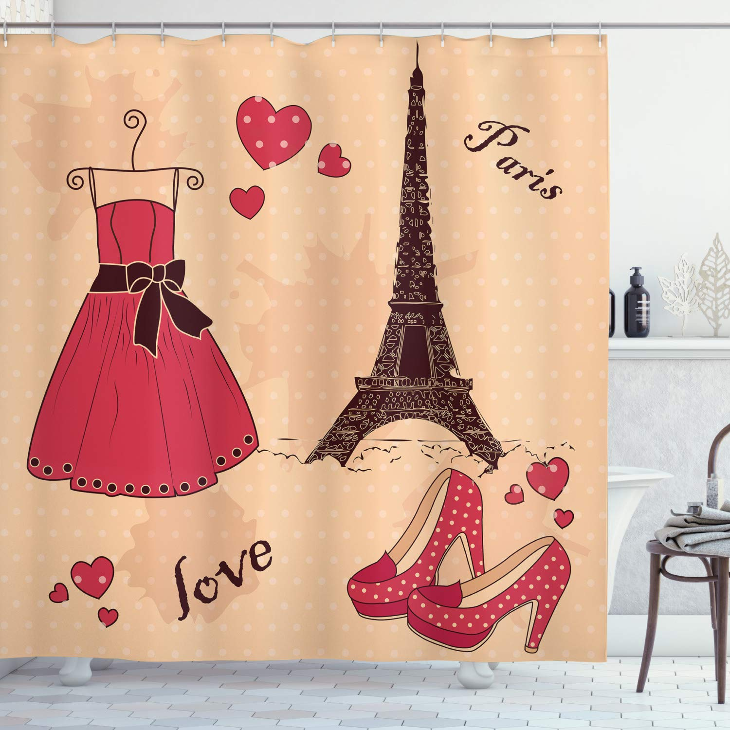 """Ambesonne Heels and Dresses Shower Curtain, Paris Boutique French Retro Dress Shoes Eiffel Tower, Cloth Fabric Bathroom Decor Set with Hooks, 70"""" Long, Pale Salmon"""
