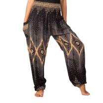 LOFBAZ Harem Yoga Pants for Women S-4XL Hippie Boho PJs Lounge Beach Print Plus