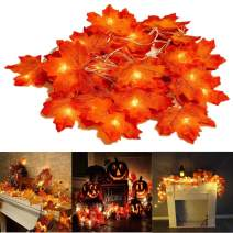 Thanksgiving Decorations Lighted Fall Garland, 20 LED Maple Leaf String Lights, Battery Powered Harvest Fall Garlands String Light, Perfect Decoration for Autumn Halloween Christmas (Warm White)