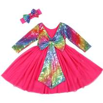 Cilucu Flower Girl Dress Sequin Girls Long Sleeve Dress Tutu Party Chrismas New Year Dress