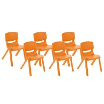 ECR4Kids School Stack Resin Chair, Indoor/Outdoor Plastic Stacking Chairs for Kids, 14 inch Seat Height, Orange (6-Pack)
