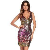 ETOSELL Women Deep V Neck Sequin Gilter Stretchy Bodycon Party Club Mini Dresses
