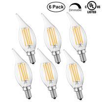 HOLA LED Candelabra Bulb E12, Dimmable LED Chandelier Bulb UL Listed, 40W Equivalent Soft White 2700K, Home Decorative Candle Lights, LED Tip Light Bulbs CA10, 6 Pack
