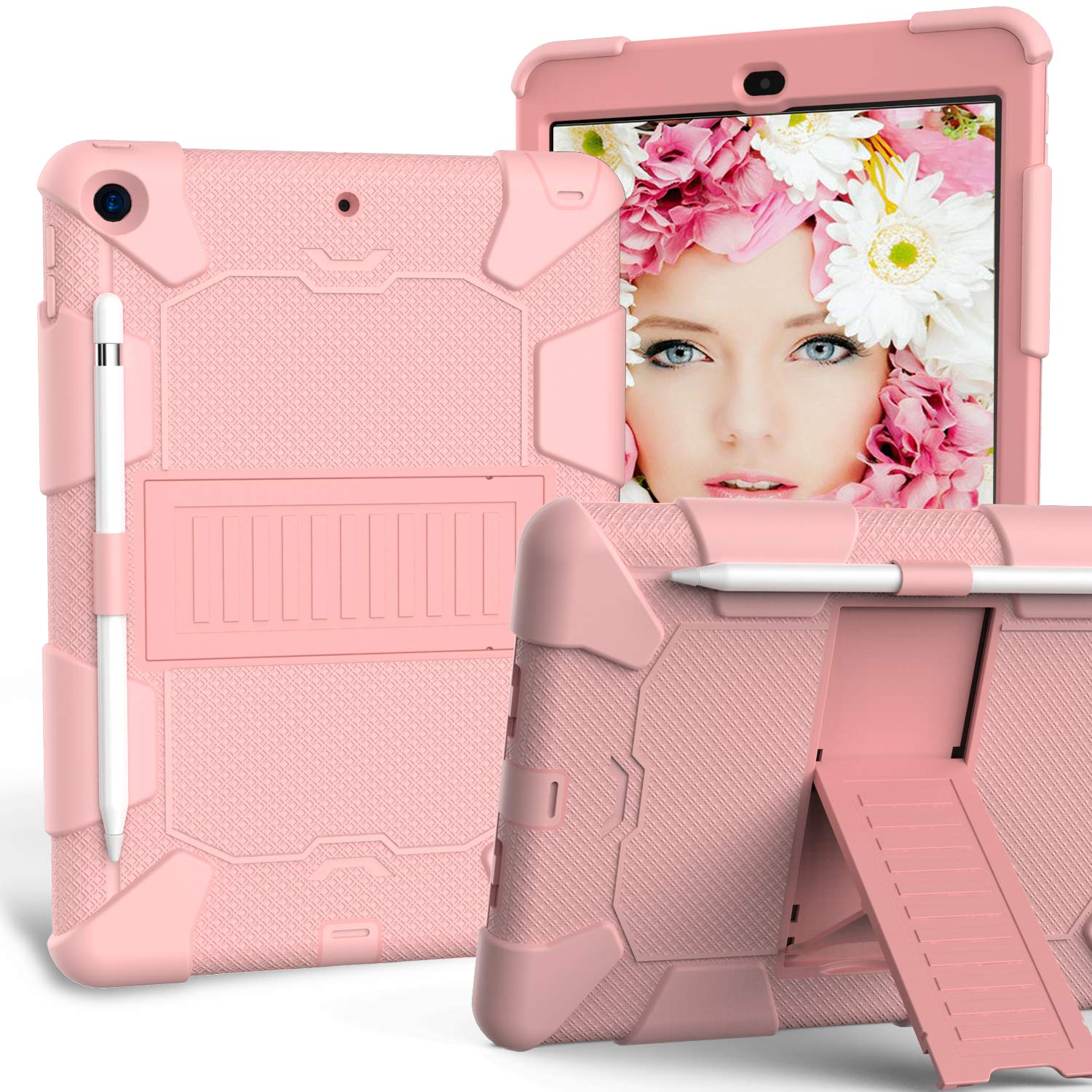 HLHGR iPad 7th Generation Cases,iPad 10.2 2019 Case Heavy Duty Hybrid PC + Silicone Drop Protection Rugged Case with Pencil Holder Built-in Kickstand foriPad 10.2 inch Rosegold