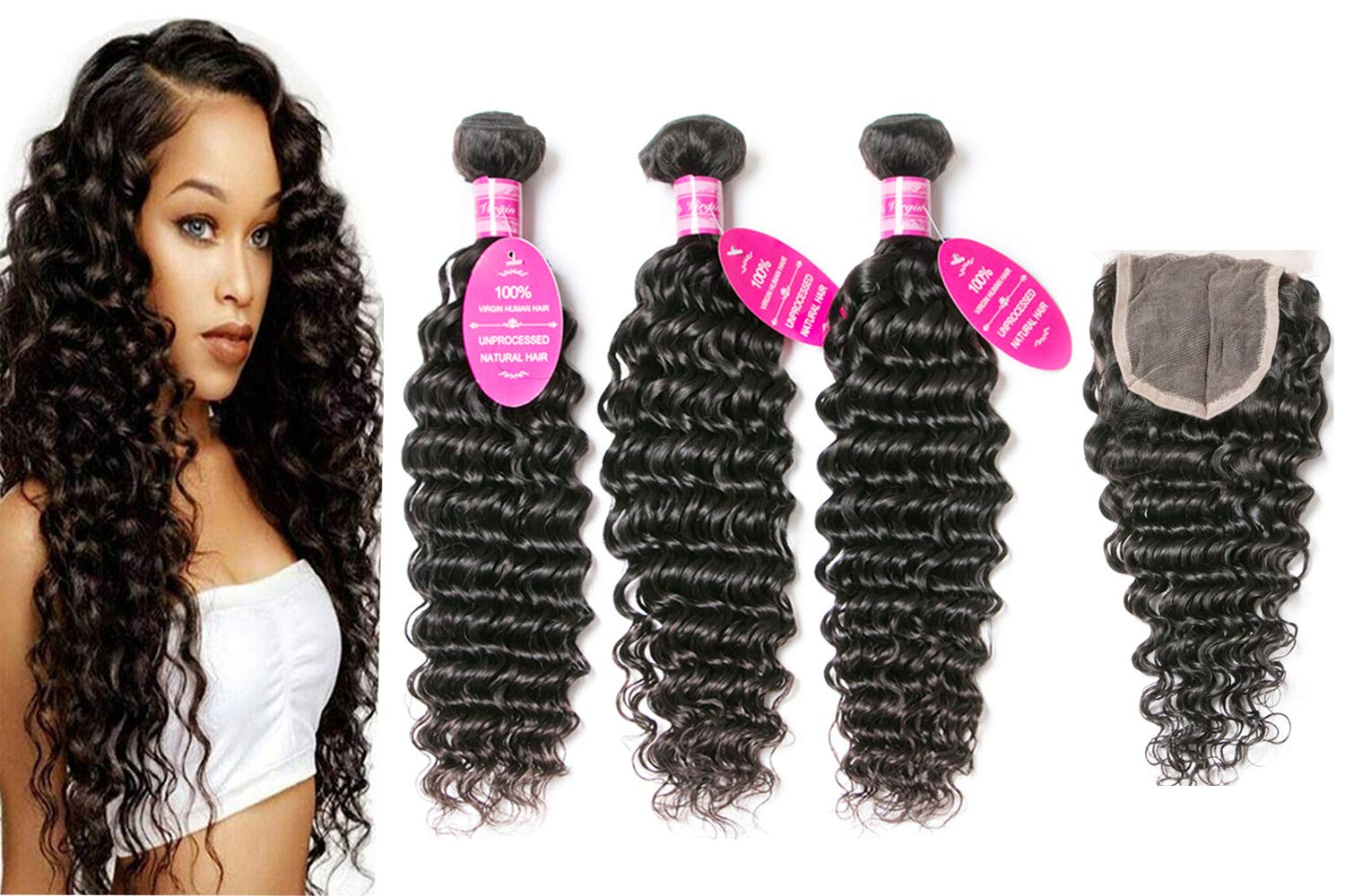 Loose Deep Wave Bundles with Closure 18 20 22+16 Unprocessed Brazilian Virgin Remy Human Hair 3 Bundles with Closure 4X4 Free Part Lace Natural with Baby Hair for Women 150% Density Wet and Wavy Hair