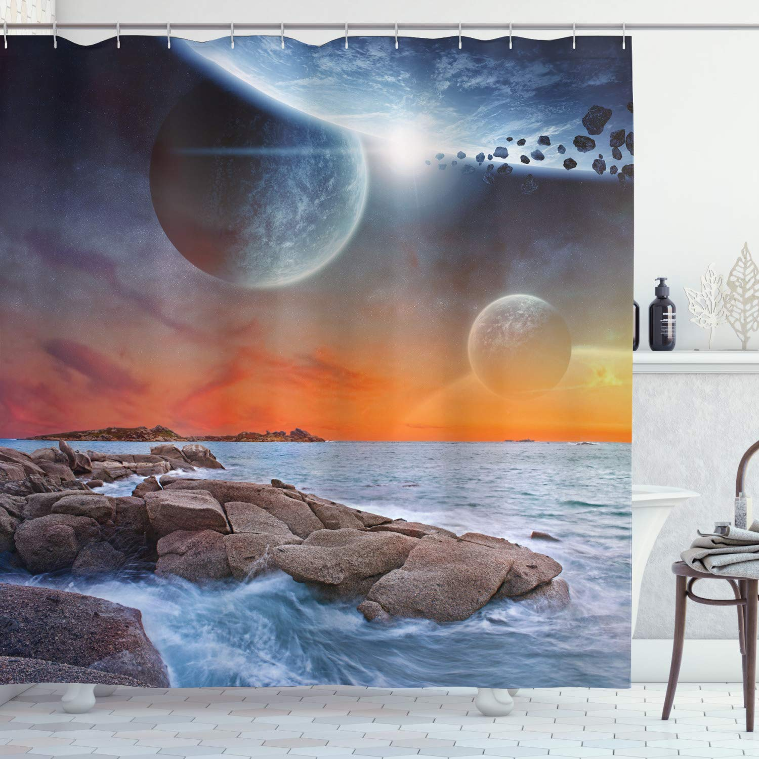 "Ambesonne Galaxy Shower Curtain, Planet Landscape View from a Rocky Beach Ocean Science Room Theme, Cloth Fabric Bathroom Decor Set with Hooks, 84"" Long Extra, Orange Umber"