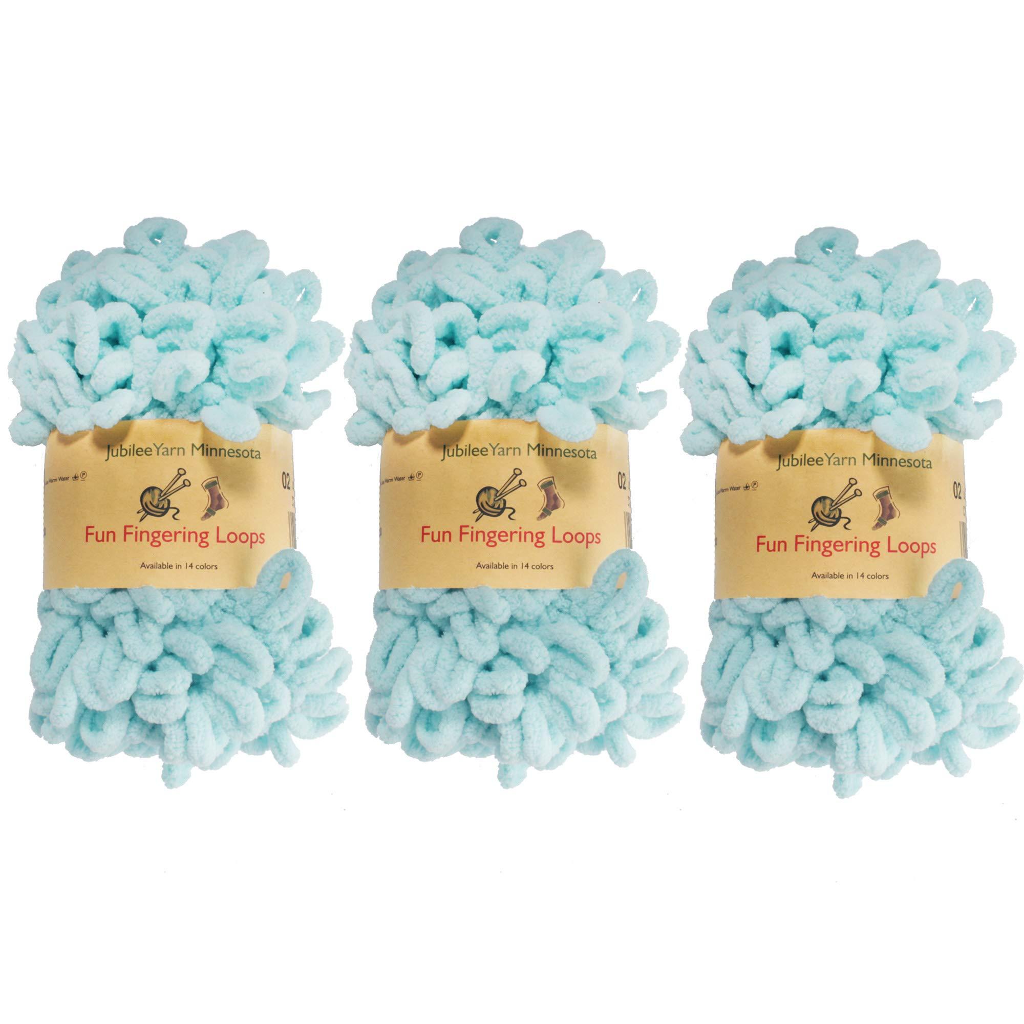 BambooMN Finger Knitting Yarn - Fun Finger Loops Yarn - 100% Polyester - Blue - 3 Skeins