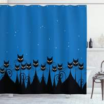 """Ambesonne Night Shower Curtain, Graphic Crowd of Black Cats and Starry Sky on The Backdrop, Cloth Fabric Bathroom Decor Set with Hooks, 70"""" Long, White Black"""