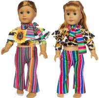 iBayda 6pcs/Set Doll Clothes Accessories Include Top Pants Scarf for 18 inch American Girl Doll ,Our Generation Doll,43cm New Born Baby Doll