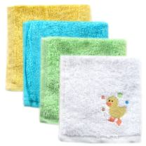 Luvable Friends Unisex Baby Super Soft Cotton Washcloths, Yellow Duck, One Size