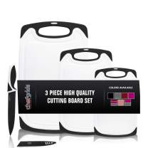 CHEF GRIDS Durable Plastic Cutting Board Set, Chopping Board Thick Plastic, for Vegetable Meat or Cheese with Non-Slip Feet and Handles with Juice Groove   Dishwasher Safe (3 Piece Set, Black)