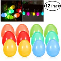 iBaseToy Glow in the Dark Easter Eggs for Easter Games, Glow Easter Eggs, Easter Decorations for Easter Party, easter toys for Boys and Girls, Glowing Plastic Easter Eggs Easter Egg Hunt-12PCS