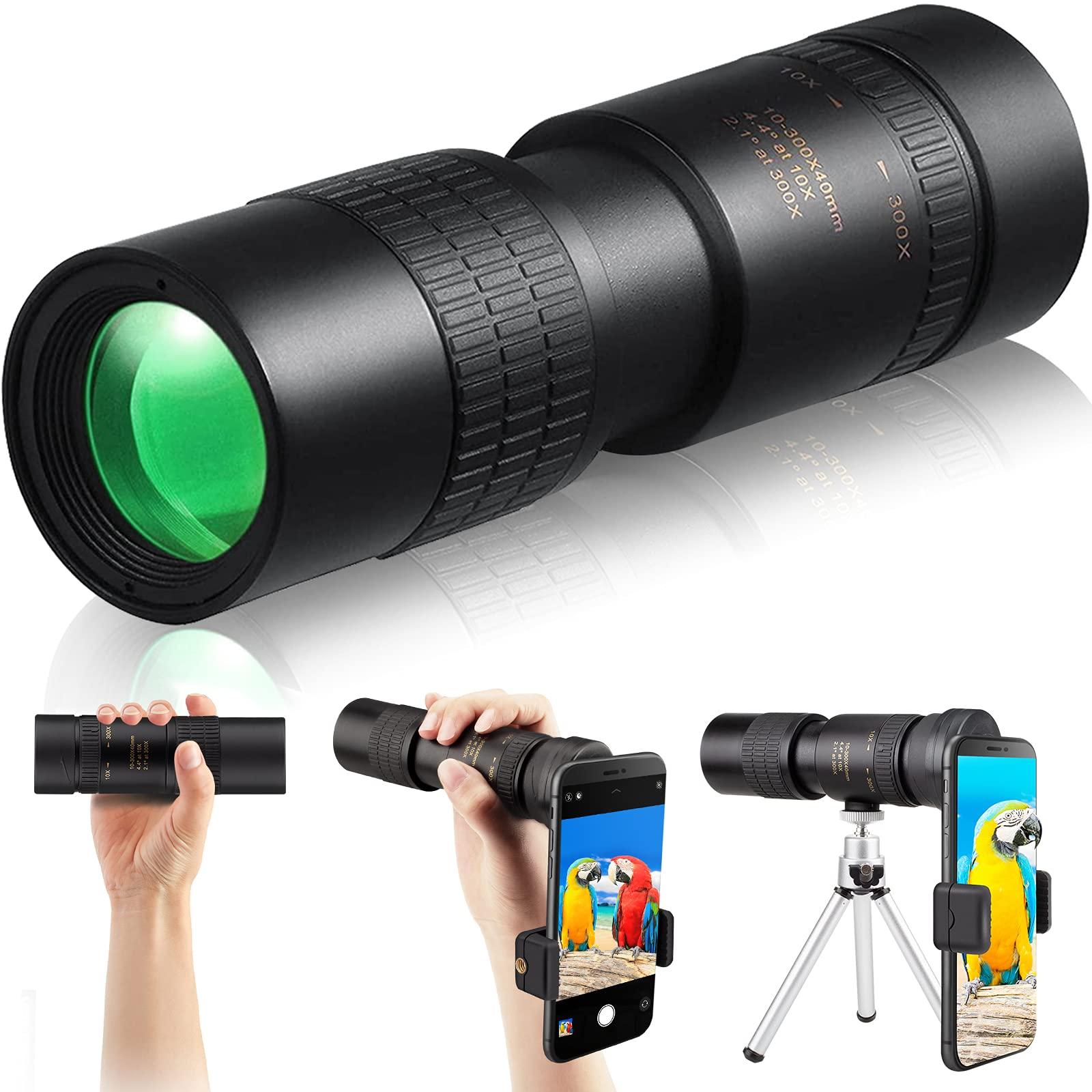 SFABF Monocular Telescope,4k 300x40 Monocular with Smartphone Holder & Tripod Zoom Telescope Scope HD Monocular Scope for Bird Watch Hunt Wildlife
