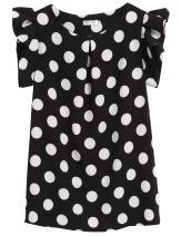 ELESOL Women Casual T-Shirt Chiffon Ruffle Sleeve Dot Prints Slim Sexy Tops