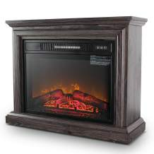 Belleze 3D Infrared Electric Fireplace Stove 31-inch with Remote Control (Wood Gray) Portable Indoor Space Freestanding Heater – 1400W with Long Glass View