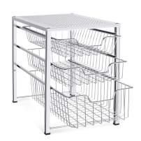 Auledio Stackable Mesh Cabinet Basket Organizer with 3 Tier Wire Grid Sliding Drawer, Multi-Function Storage Organizer for Kitchen Counter, Desktop, Under Sink, Silver