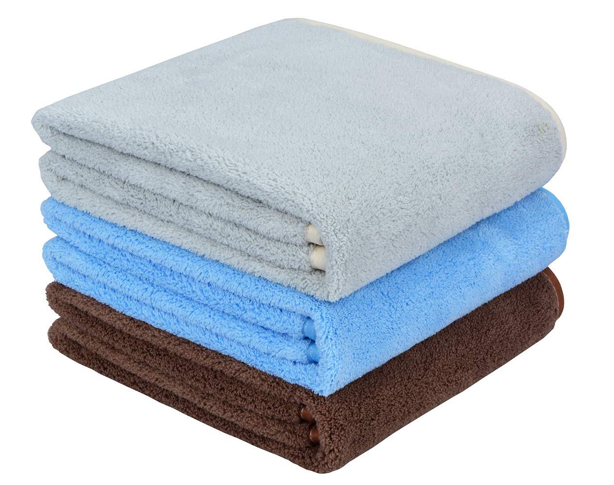 Hand Towels for Bathroom Hand Towel Set of 3 Super Soft Plush for Baby and Kids Multipurpose Microfiber Towels for Hand, Face, Spa for Women Gym Quick Drying Absorbent (Grey + Sky Blue + Brown)